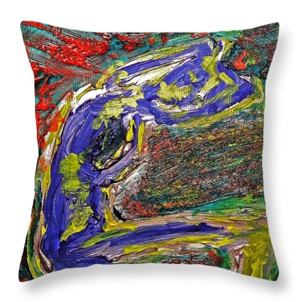 Female Washing Hair With Bold Primary Colors Textures And Expressionism  Throw Pillow by MendyZ M Zimmerman