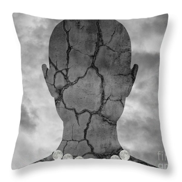 Feminine Figure With Moon Necklace Throw Pillow by Dave Gordon