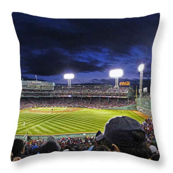 Fenway Night Throw Pillow by Rick Berk