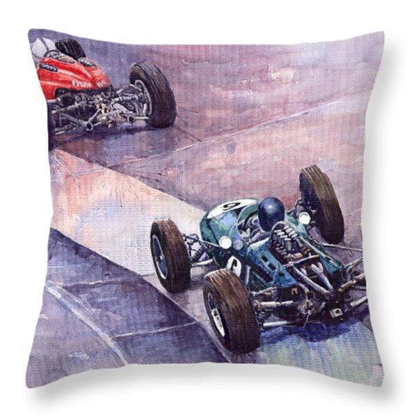 Ferrari 158 vs Brabham Climax German GP 1964 Throw Pillow by Yuriy  Shevchuk