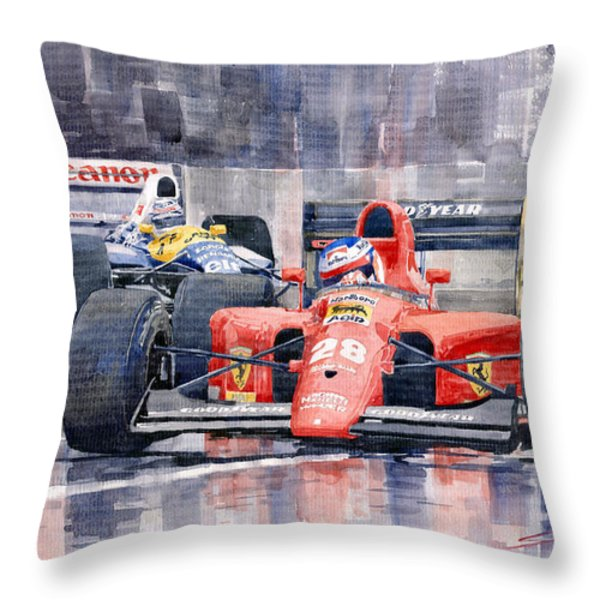 Ferrari F1 Jean Alesi Phoenix Us Gp Arizona 1991 Throw Pillow by Yuriy  Shevchuk