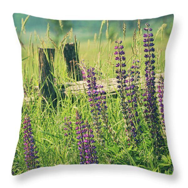 Field Of Lupin Flowers  Throw Pillow by Sandra Cunningham