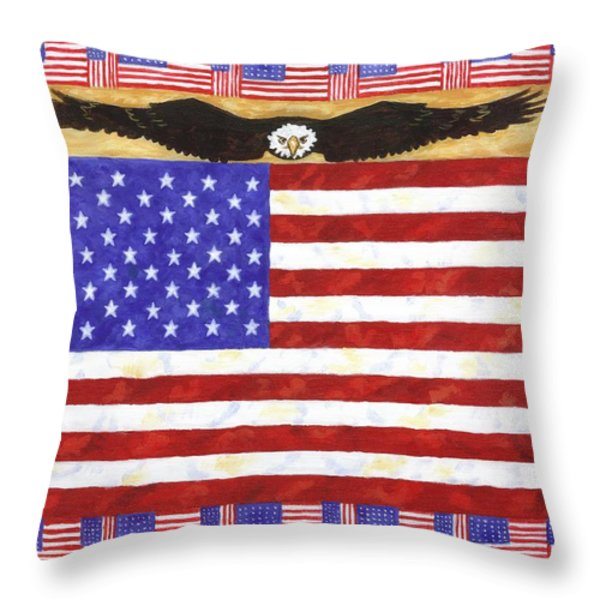 Fifty Stars Throw Pillow by Linda Mears