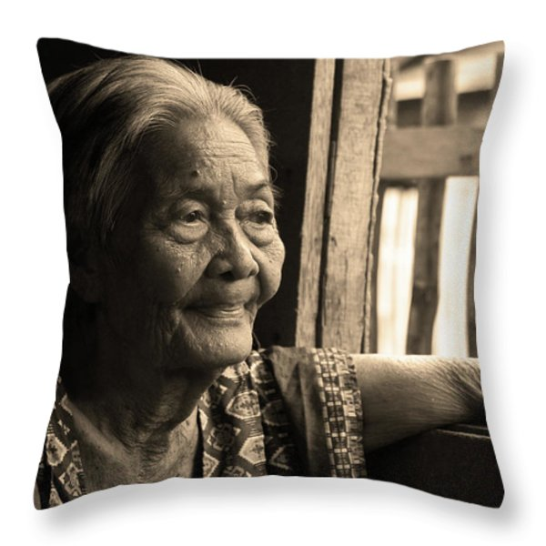Filipino Lola - Image 14 Sepia Throw Pillow by James BO  Insogna