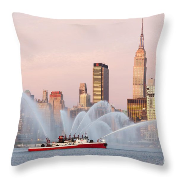 Fire Boat and Manhattan Skyline I Throw Pillow by Clarence Holmes