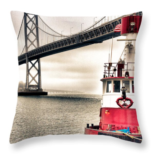 Fireboat and Bay Bridge HDR Throw Pillow by Jarrod Erbe
