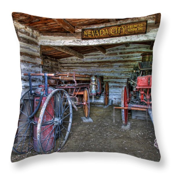 FIREFIGHTING ENGINE COMPANY NO. 1 - NEVADA CITY MONTANA GHOST TOWN Throw Pillow by Daniel Hagerman