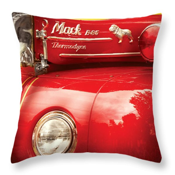 Fireman - An Old Fire Truck Throw Pillow by Mike Savad
