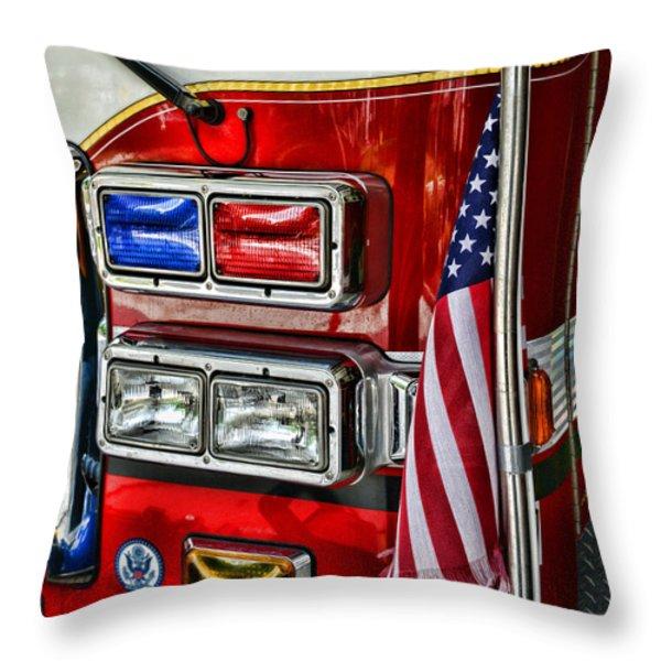Fireman - Fire Truck Throw Pillow by Paul Ward