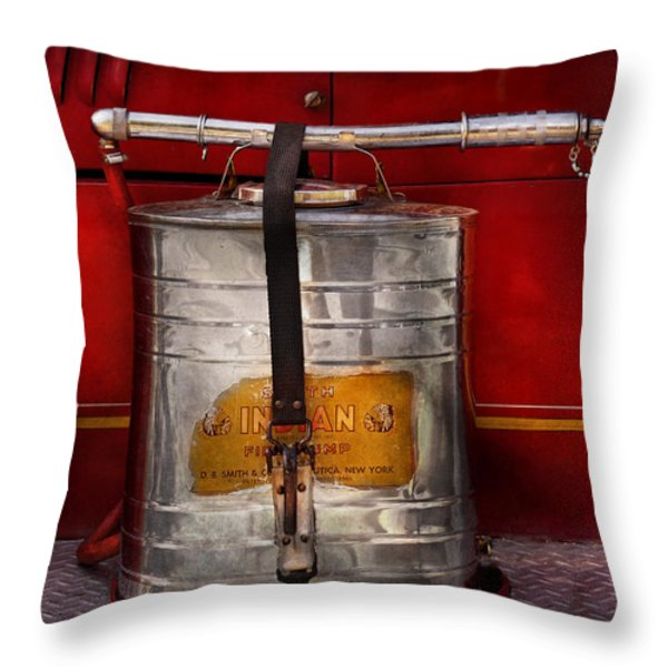 Fireman - Indian Pump  Throw Pillow by Mike Savad