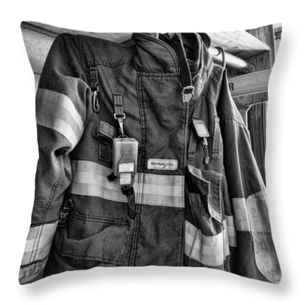 Fireman - Saftey Jacket Black And White Throw Pillow by Paul Ward