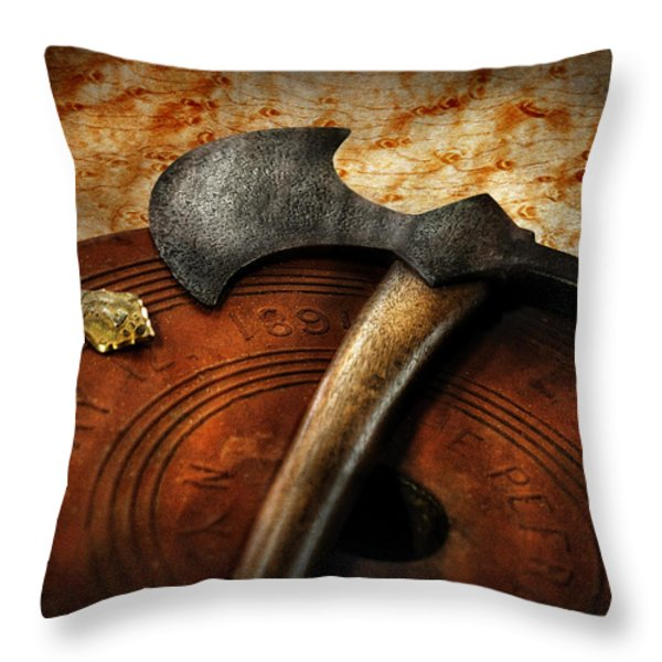 Fireman - The fire axe  Throw Pillow by Mike Savad