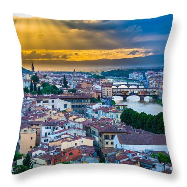 Firenze Sunset Throw Pillow by Inge Johnsson