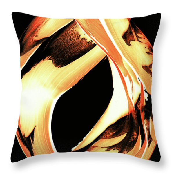 Firewater 1 - Buy Orange Fire Art Prints Throw Pillow by Sharon Cummings