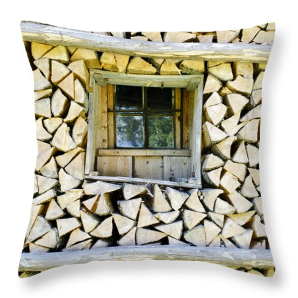 Firewood Throw Pillow by Frank Tschakert