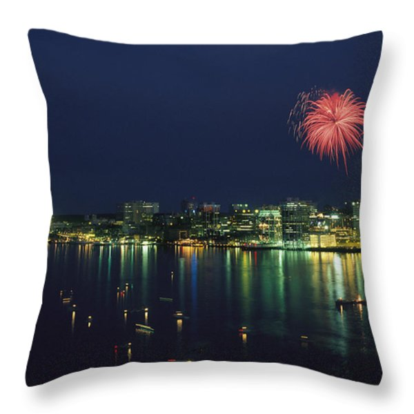Fireworks Over Halifax Harbor Celebrate Throw Pillow by James P. Blair