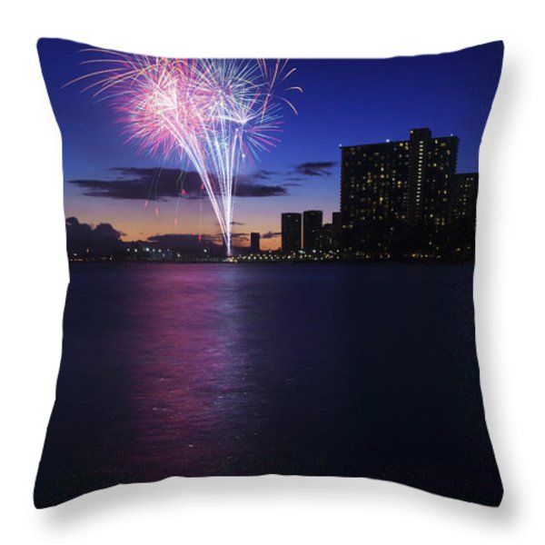 Fireworks over Waikiki Throw Pillow by Brandon Tabiolo - Printscapes