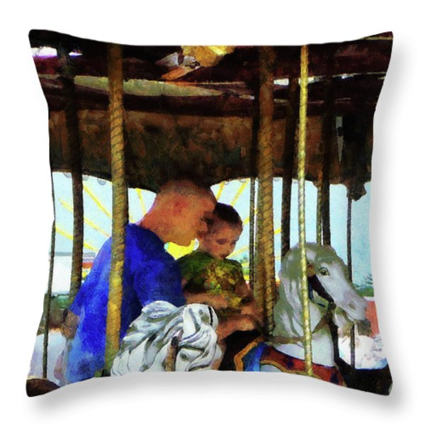 First Carousel Ride Throw Pillow by Susan Savad