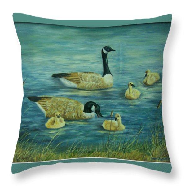First Lesson Throw Pillow by Wanda Dansereau