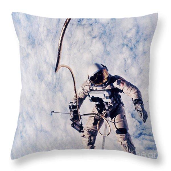 First Spacewalk Throw Pillow by NASA