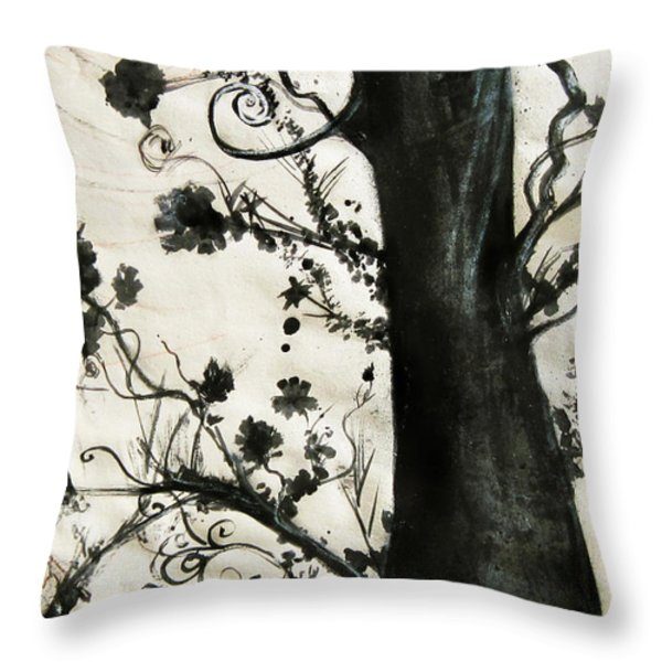 First Tree Throw Pillow by Carrie Jackson