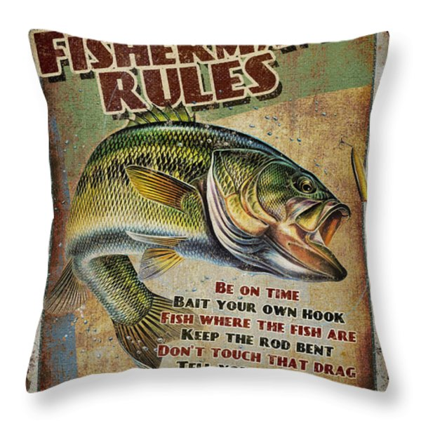Fisherman's Rules Throw Pillow by JQ Licensing