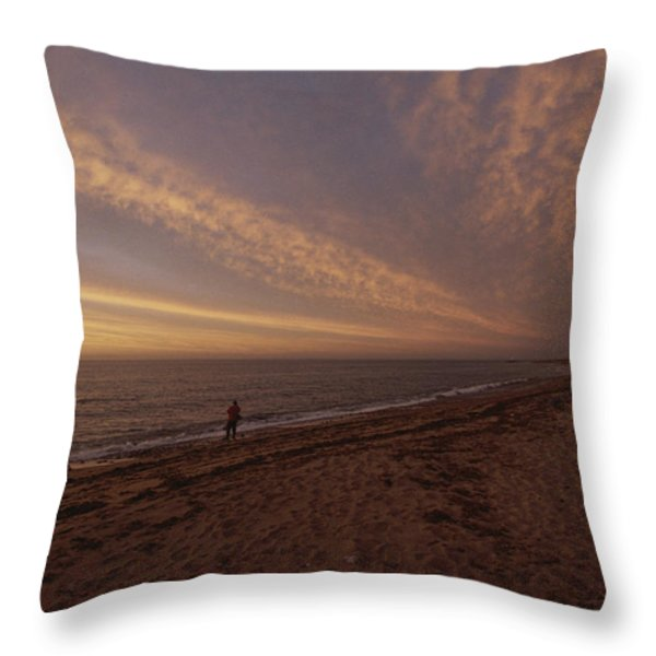Fishermen Fishing In The Surf At Sunset Throw Pillow by Todd Gipstein