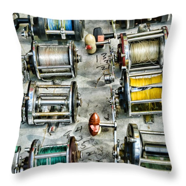 Fishing - Fishing Reels Throw Pillow by Paul Ward