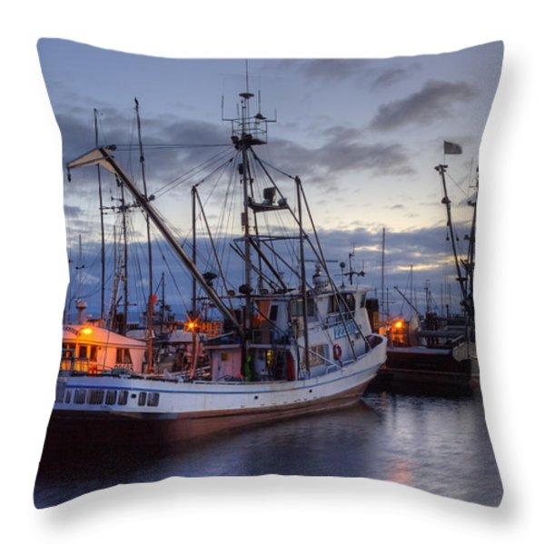 Fishing Fleet Throw Pillow by Randy Hall