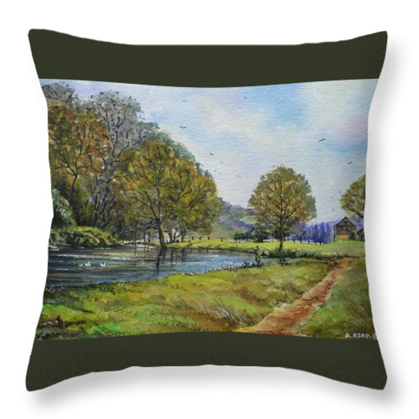 Fishing In The Wye Valley Throw Pillow by Andrew Read