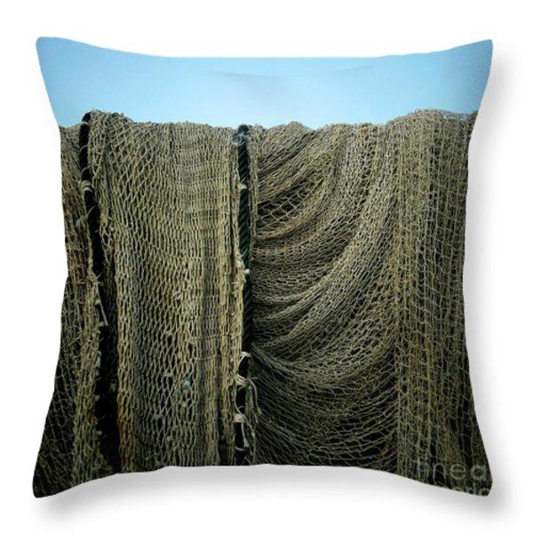 Fishing Net Throw Pillow by Bernard Jaubert