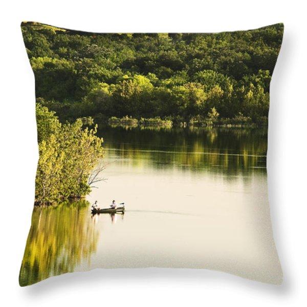 Fishing On Mountain Lake Throw Pillow by Tamyra Ayles
