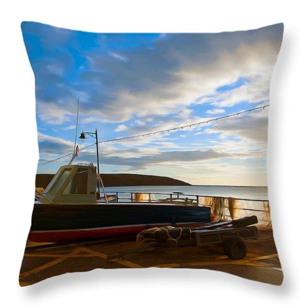 Fishing Village Filey Throw Pillow by Svetlana Sewell