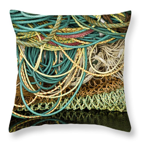 Fishnets And Ropes Throw Pillow by Carol Leigh