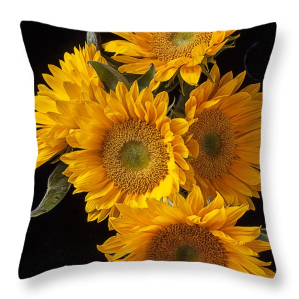 Five sunflowers Throw Pillow by Garry Gay