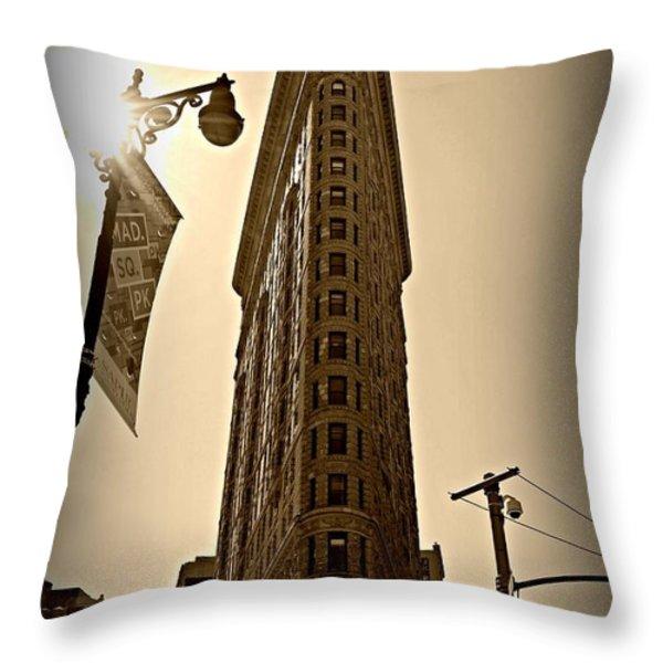 Flatiron Sepia Throw Pillow by Randy Aveille