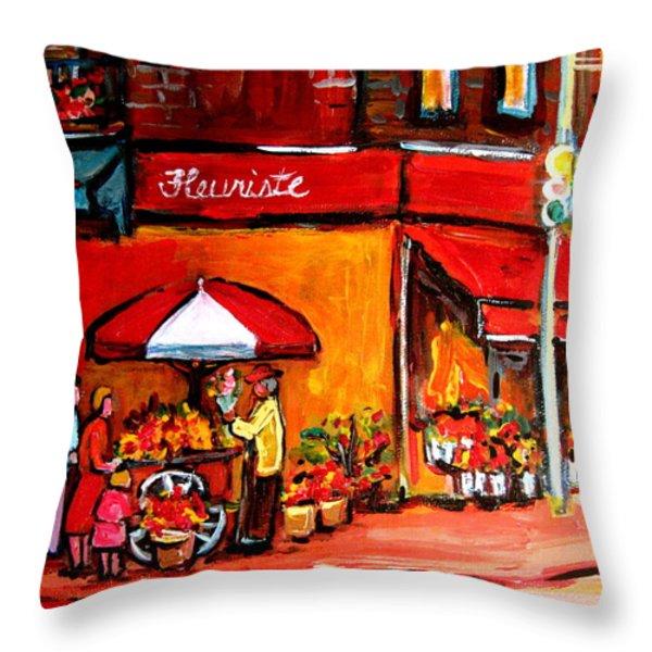 Fleuriste Bernard Florist Montreal Throw Pillow by Carole Spandau