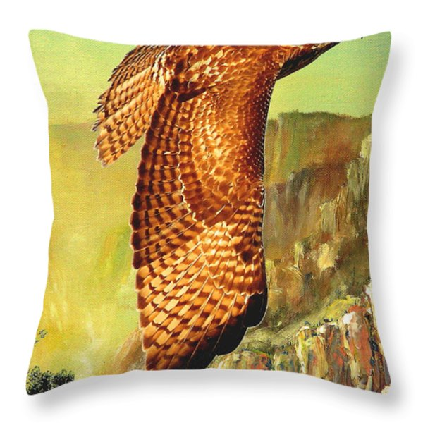 Flight Of The Red Tailed Hawk Throw Pillow by Wingsdomain Art and Photography