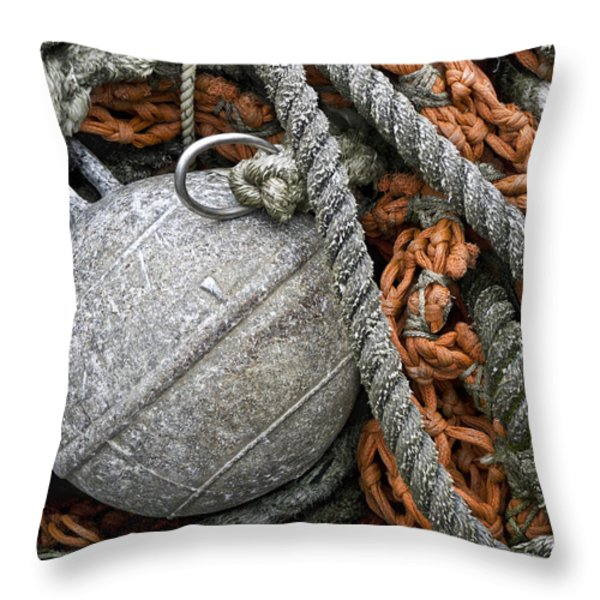 Float And Fishing Nets Throw Pillow by Carol Leigh