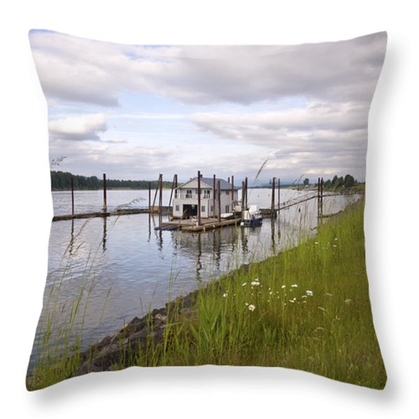 Floating House On The Columbia River Oregon. Throw Pillow by Gino Rigucci