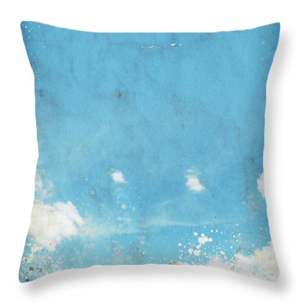 floral in blue sky and cloud Throw Pillow by Setsiri Silapasuwanchai