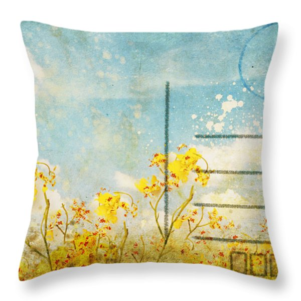 Floral In Blue Sky Postcard Throw Pillow by Setsiri Silapasuwanchai