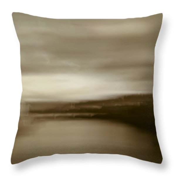 Throw Pillow featuring the painting Florence, Arno River, Abstract Landscape by Frank Tschakert