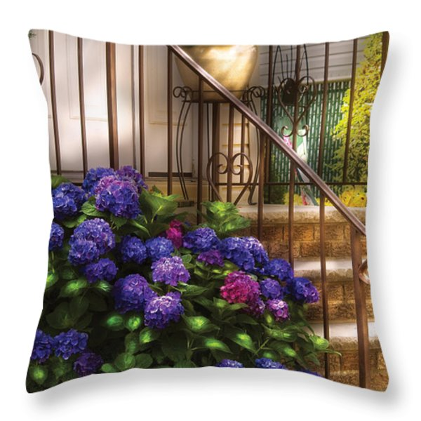 Flower - Hydrangea - Hydrangea and Geraniums  Throw Pillow by Mike Savad