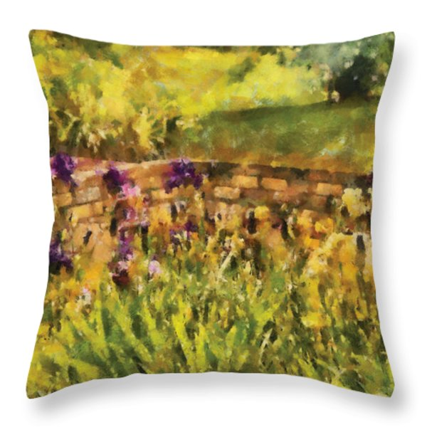 Flower - Iris - By The Bridge Throw Pillow by Mike Savad