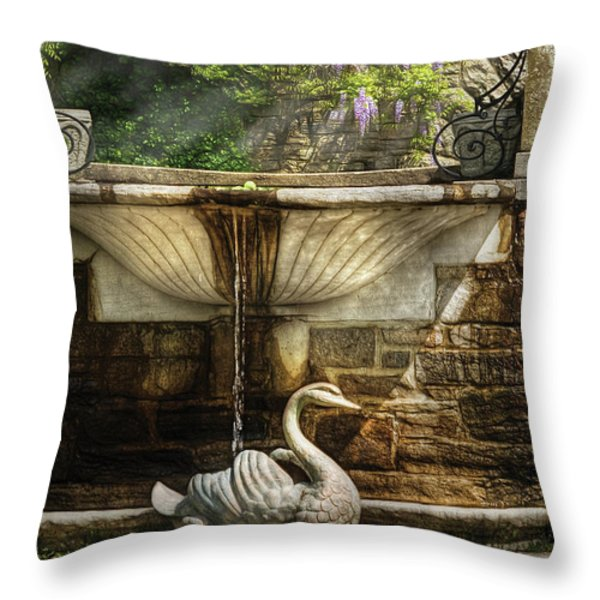 Flower - Wisteria - Fountain Throw Pillow by Mike Savad