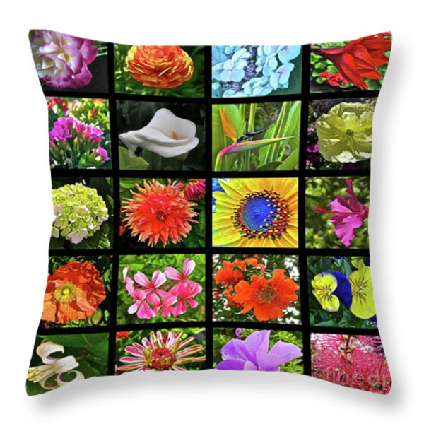 Flower Favorites Throw Pillow by Gwyn Newcombe