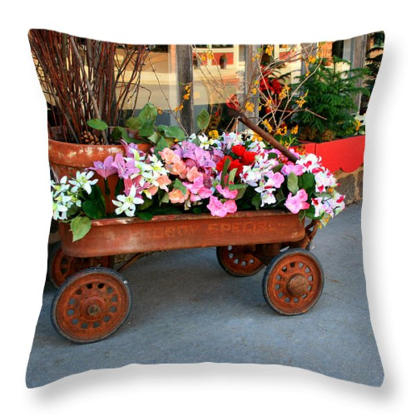 Flower Wagon Throw Pillow by Perry Webster