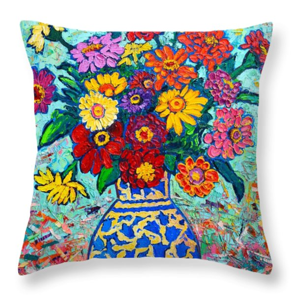 Flowers - Colorful Zinnias Bouquet Throw Pillow by Ana Maria Edulescu