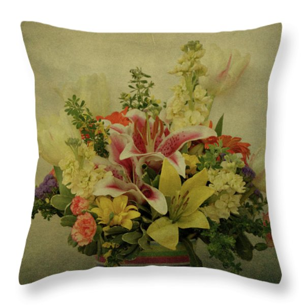 Flowers Throw Pillow by Sandy Keeton